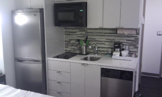 element new york times square west kitchenette included microwave two rings and mini dishwasher