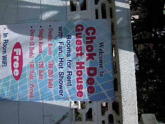 Chok Dee Guesthouse : Front Banner