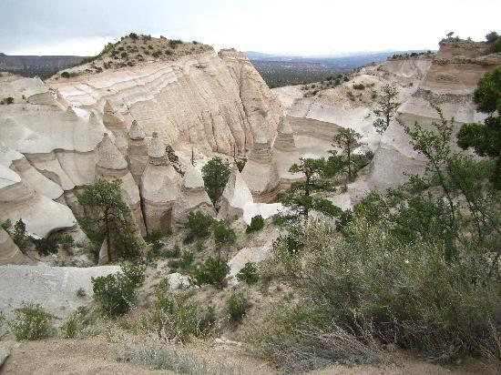 Kasha-Katuwe Tent Rocks National Monument: View looking down on the tent rock formations and the canyon.