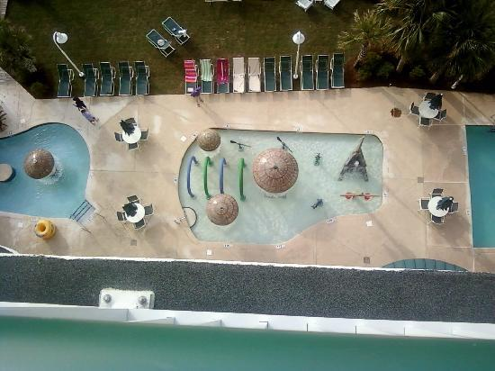 Hampton Inn & Suites Myrtle Beach/Oceanfront: A view of 2 of the 9 pools from our suite