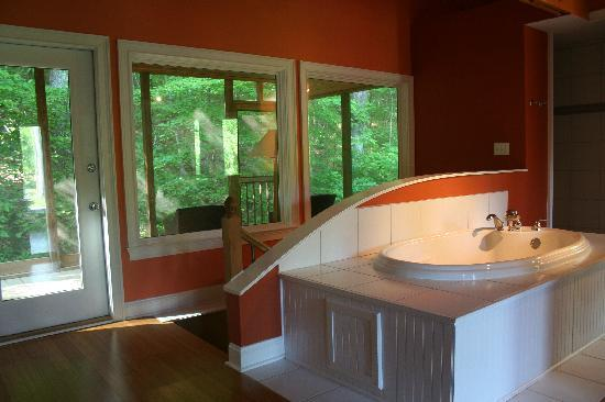 Butterfly Gap Retreat: porch and jet tub