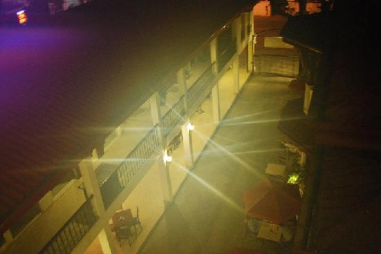 Legaspi Suites: View from the 4th at night -- you can see the pretty al fresco umbrellas below