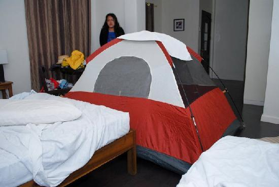 Legaspi Suites: Our room was so spacious, we could set up a tent inside... and we did!