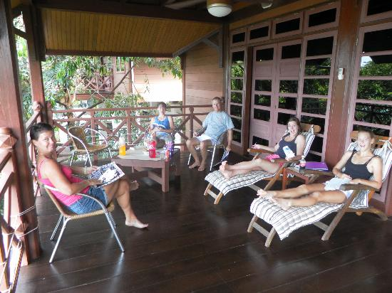 Sari Village Holiday Homes: Relaxing on the balcony