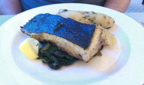 The Cliff House Hotel: Turbot Cutlet, Garlic and Thyme, New Potatoes, Seasonal Greens