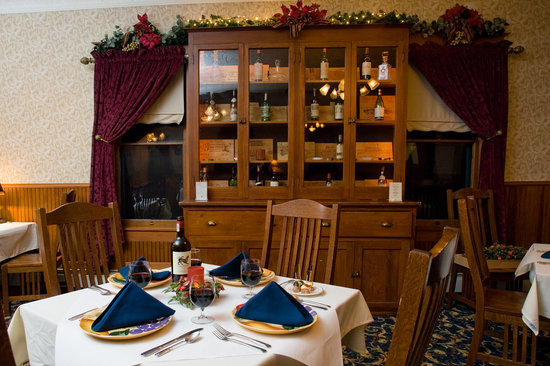 The Historic Elk Mountain Hotel and Restaurant: View Showing 100 year old Cupboard in the Restaurant