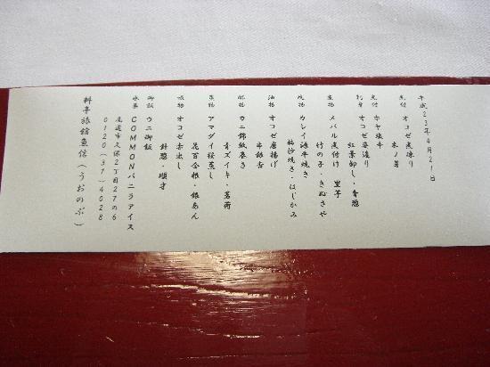 Ryotei Ryokan  Uonobu : この日の献立