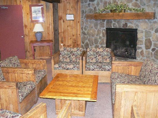 Snowy Owl Inn: One of our many lobbies, with fireplaces!