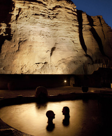 Ojo Caliente Mineral Springs Resort and Spa: Cliffside Pools at Night at Ojo Caliente Mineral Springs