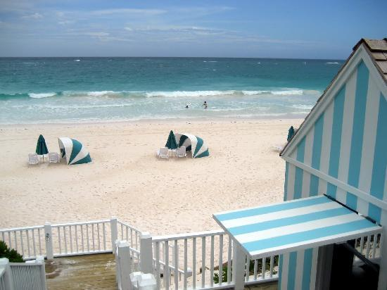 The Dunmore: beachside cabana (with equipment, sunscreen, etc) on right