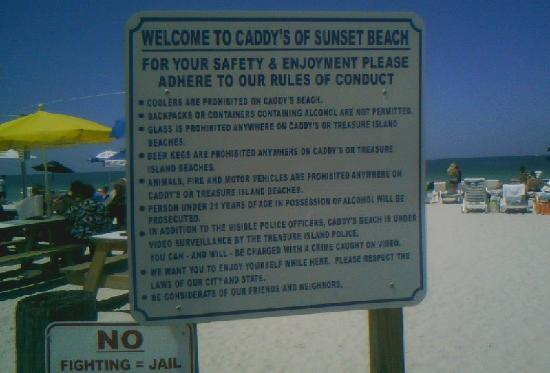 Caddy's on the Beach: Picture of their rules