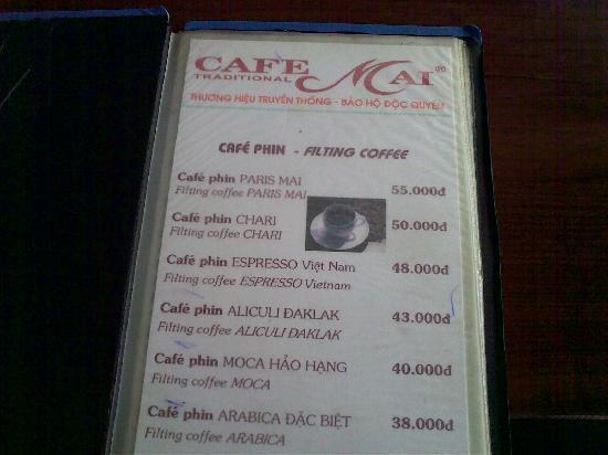Cafe Mai: choices of coffee