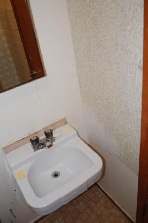 Parkland Motel and Guesthouse: Old sink was mouldy and wall is peeling.