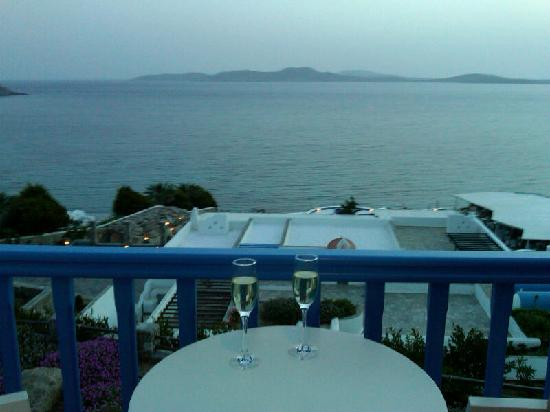 Mykonos Grand Hotel & Resort: View from our private balcony after sunset
