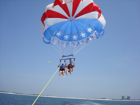 Dockside Watersports & Parasailing : The lift off.