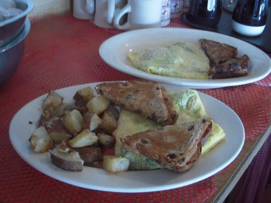 Rick's All Seasons Restaurant: Omelettes are served with homefries and one of our many choices of toast.