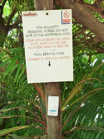 Pavillon d'Orient Boutique-Hotel: sonnette piscine