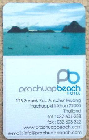 Prachuap Beach Hotel: Visitenkarte Frontseite