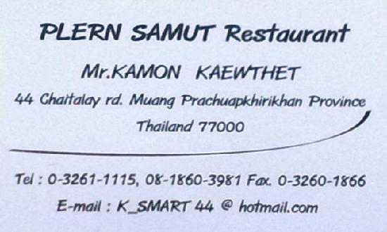 Visitenkarte Rückseite Picture Of Plern Samut Restaurant