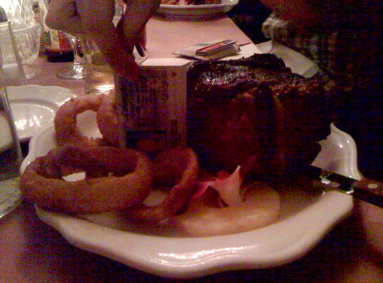 Bon Rico: holding my ID up to my steak. It's that thick