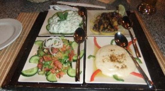 Mezze Dishes - Yoghurt & Cucumber, Tahina, Aubergine, Balady Salad