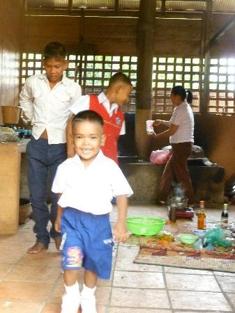 Traditional Khmer Dance at ACODO Orphanage : Home from school and straight to the kitchen!