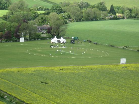Greenbank B&B: Bowerchalke cricket match from Marleycombe Hill.