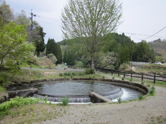 Tsujunkyo Bridge: 円筒分水:水路の水を円形に7:3の比で分けている