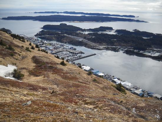 Best Western Kodiak Inn And Convention Center: Kodiak City from Top of Pillar Mountain - Wind Turbines