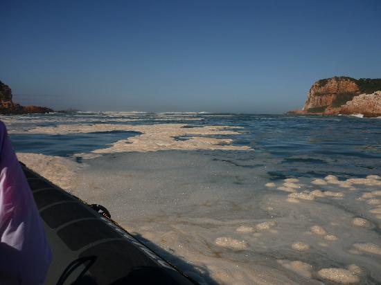 Knysna, South Africa: Sea froth as we get closer