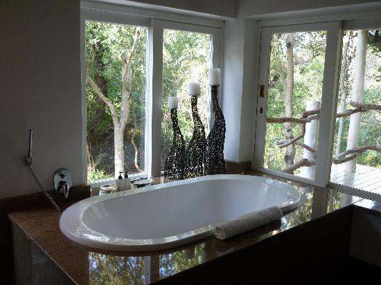 Kapama Private Game Reserve, แอฟริกาใต้: Bathroom, complete with outdoor shower