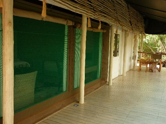 Kapama Karula: Decked area outside our tent/chalet