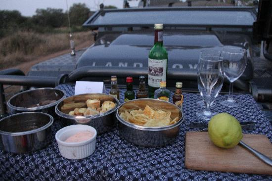 Singita Lebombo Lodge: Drinks and snacks in the middle of game drives