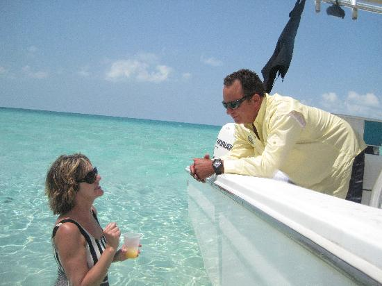 """Gran Exuma: Robert and I talking about the book, """"Out Island Doctor"""".  His great uncle is named in the book"""