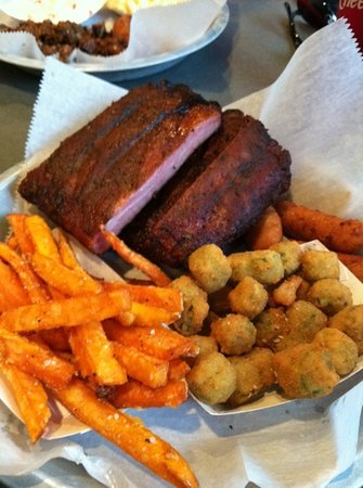 Luella's Bar-B-Que : Half slab of ribs with sweet potato fries and fried okra