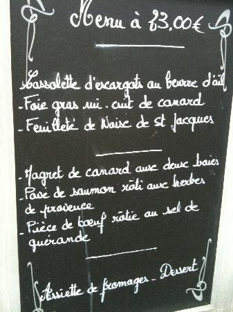 Chez Grand Ma: €23.00 menu