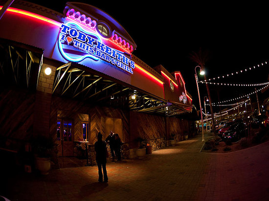 Toby Keith's I Love This Bar & Grill: sign at night