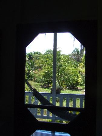 Farm Peace & Love: view of the hammock from inside cabana