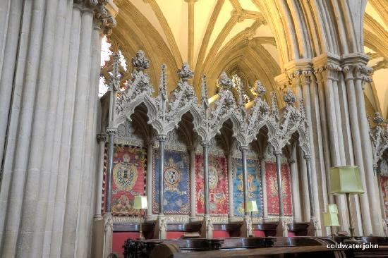 Wells Cathedral: Tapestries in the Choir Stalls