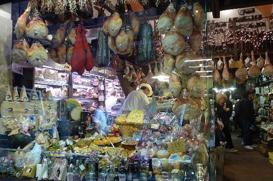 Bologna, Italy: Food shops off the main square late afternoon