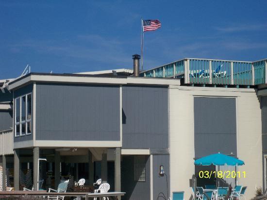 Atlantis Lodge: Our flag waving over Atlantis on a spring morning 2011