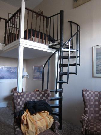 463 Beacon Street Guest House: Room #51, spiral stair to loft