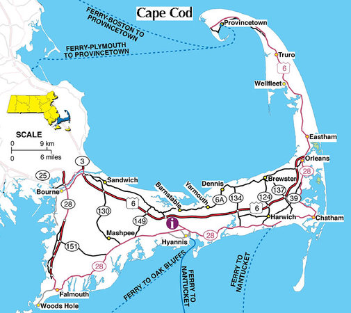 Sandwich, MA : Map showing Rt 6A (north of Rt 6)