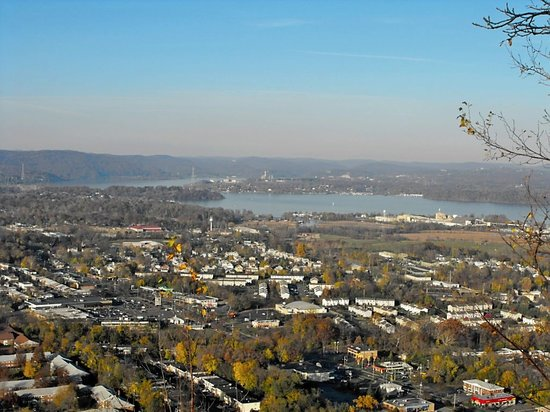 New City, NY: View of Haverstraw and the Hudson River from the peak of Low Tor