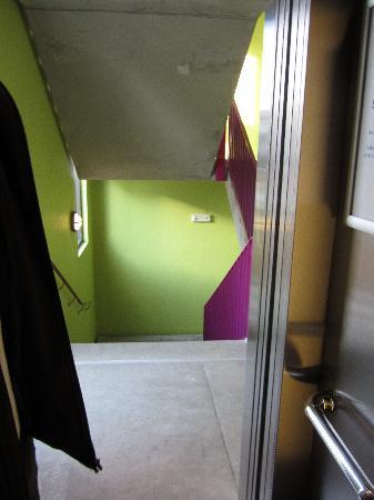 Hotel Cabinn Aalborg : Stairway seen through open elevator door, Cabinn Aalborg