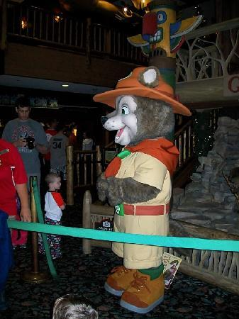 Great Wolf Lodge: Wiley makes an appearance during the bedtime story in the lobby