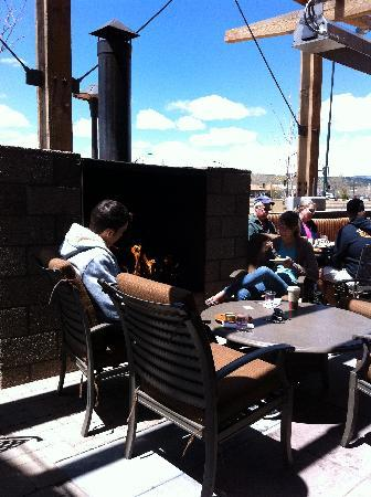 Wildflower Bread Company: the patio w/fireplace