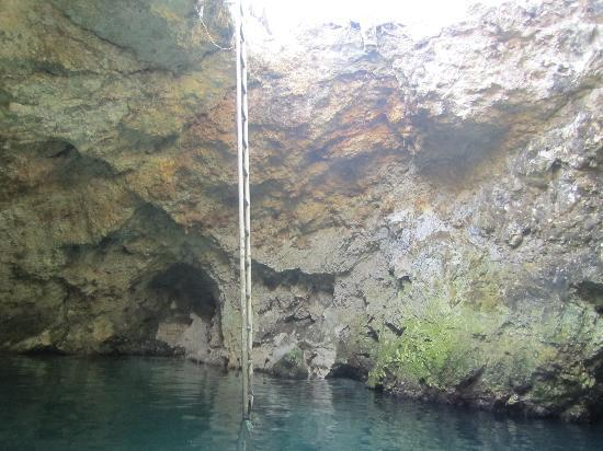Little Bay, Jamaica: View from bottom of hole and ladder leading out.