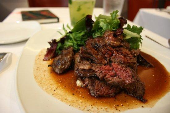 Tredici Steak: Medium rare with Portobello mushroom, gooey Gorgonzola and jus