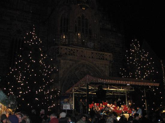 German band playing Christmas carols in front of Frauenkirche, Nuremberg